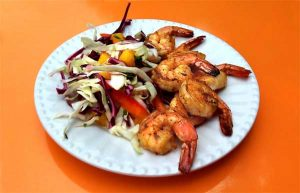 Grilled Shrimp & Mango Slaw